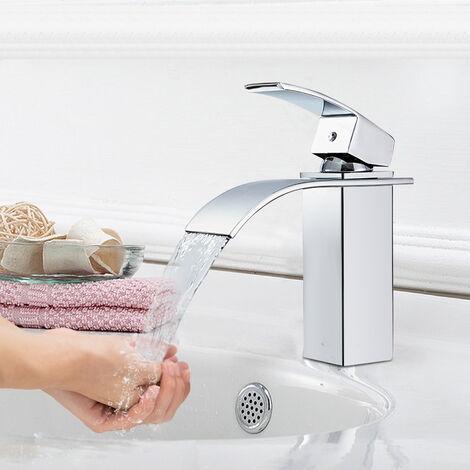 Auralum Mitigeur Robinet de Lavabo Robinet Cascade Mitigeur Evier Monocommand Bec Haut pour Lavabo | Mitigeur Vasque à Poser Lave-main