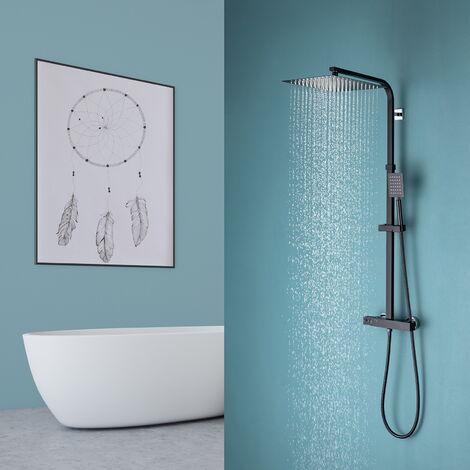 Auralum Modern Duschsystem Schwarz Duschset Duschsäule Duscharmatur Set Regenduschset, Schwarz
