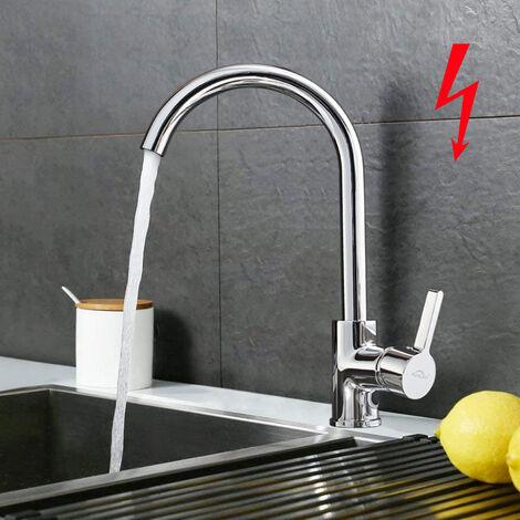 Auralum Niederdruck Wasserhahn Küchenarmatur Chrom Niederdruckarmatur Spültischarmatur Einhebelmischer Küche Spültisch Mischbatterie