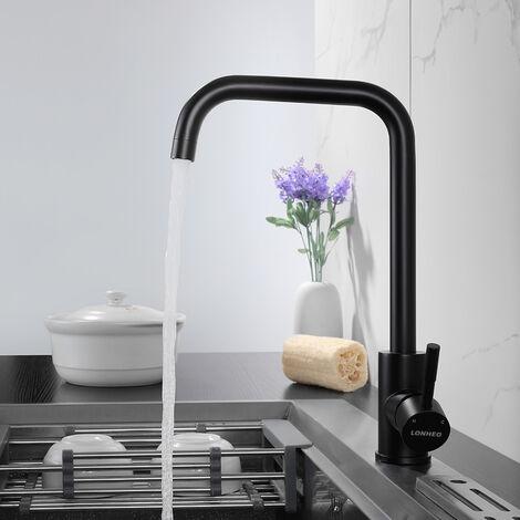 Auralum Niederdruck Wassserhahn Küche Armatur | 360°Schwenkbar Küchenarmatur Schwarz Spültischarmatur Einhebelmischer für Kaltwasser und einen Wasserboiler konzipiert
