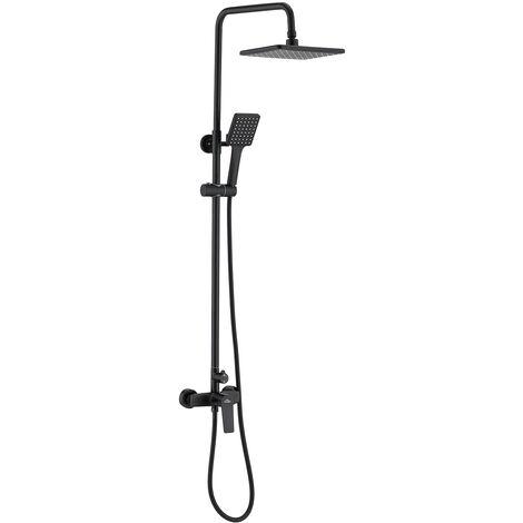 Auralum Noir Colonne de douche Showerpipe avec tête de douche 260mm et Douchette à main Ensemble Set de Douche Hauteur Réglable 900-1200 mm pour Salle de Bain