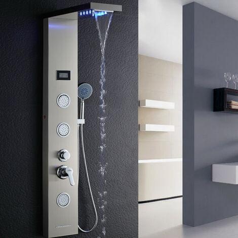 Auralum Panneau Colonne Douche Hydromassante Carrée Acier Inox avec Écran LCD et Lumières LED Multifonction à 3 Jets de Massage