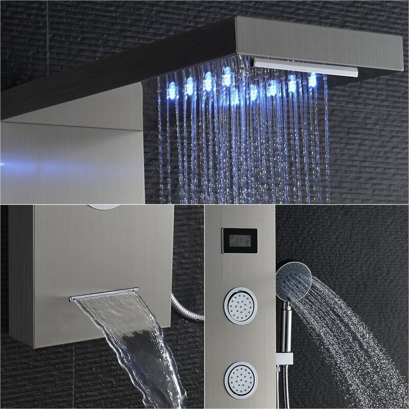 3 jets et douchette pour salle de bain Auralum Syst/ème de douche thermostatique en acier inoxydable avec support mural