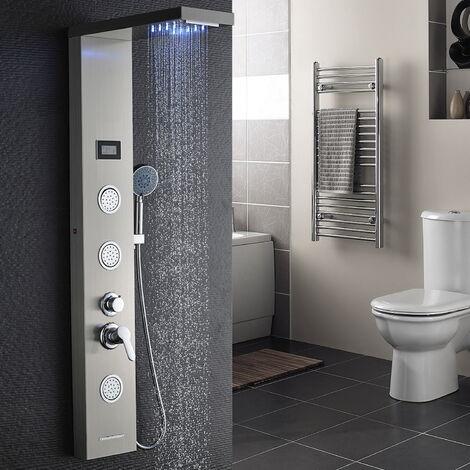 AuraLum Panneau de Douche Colonne de Douche Hydromassante LED Panneau de Douche en Acier Inox Brossé avec 3 Jets de Massage pour Salle de bain