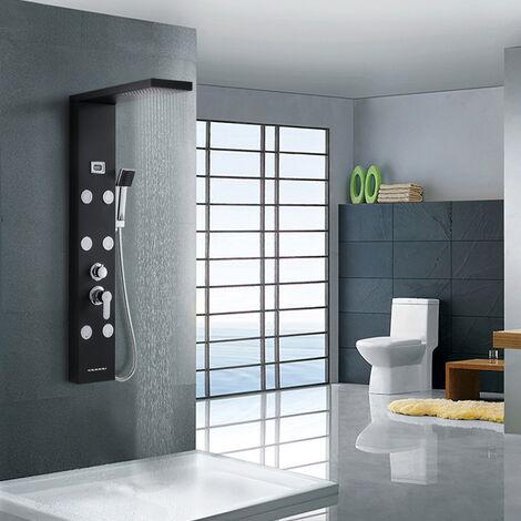 Auralum Panneau de douche multifonctionnel LCD Colonne de douche Effet Pluie douche cascade et hydromassante Panneau en acier inoxydable 304 Mitigeur cuivre pour Salle de bain
