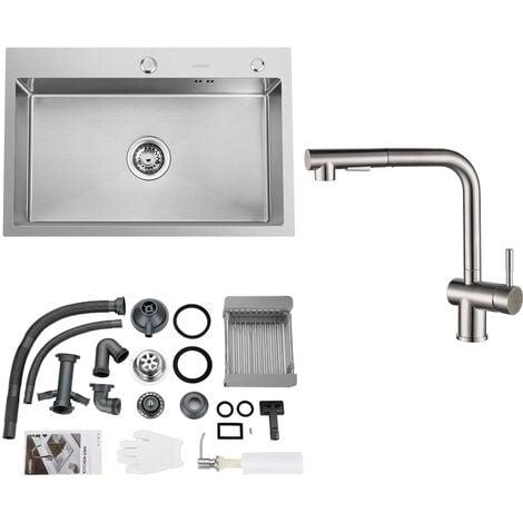 Auralum Rechteckige Küchenspüle 78 * 43CM Edelstahl Einbau Spülbecken ab 80er Unterschrank inkl. Ablaufgarnitur