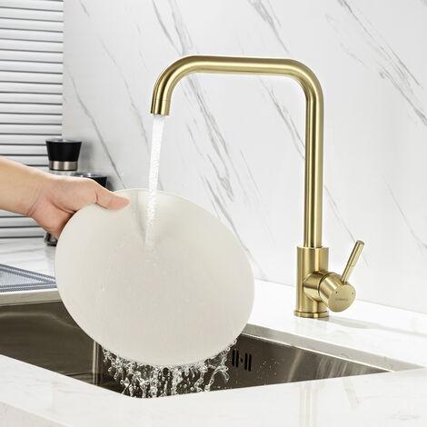 Auralum Robinet de Cuisine en Laiton avec LED 3 Couleurs Changeant, Mitigeur d'Évier Robinetterie Pivotant à 360° Pulvérisation Peinture Noire