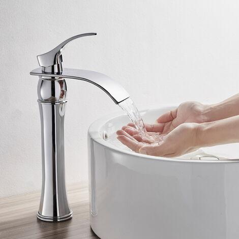 Auralum Robinet Lavabo Haute Bec Cascade pour Salle de Bain Mitigeur de lavabo (Chromé)