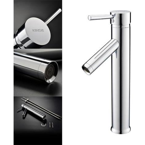 AuraLum Robinet Mitigeur lavabo Ronde Cuivre inox Antioxydant Mirror Plating Robinetterie Évier Cuisine Salle de bain Baignoire Toilettes