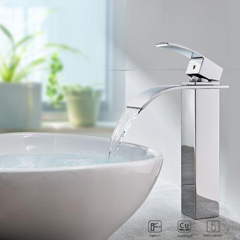Auralum Robinet Salle de Bain Cascade Mitigeur de Lavabo Robinet pour lavabo et vasque Salle de Bain Laiton Chromé