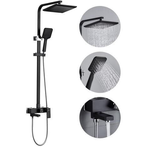 Auralum schwarz Duschset Duschkopf Mischbatterie 3 Funktion Duschsystem mit Brause Wasserhahn Duschköpfe Duscharmatur Brauseset, Einstellbare Duschrohrs 90 bis130cm