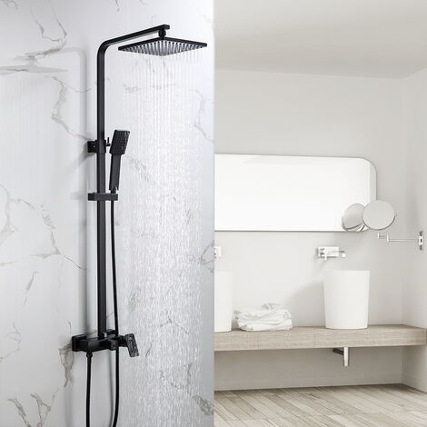 Auralum Schwarz Duschsystem Duscharmatur Duschset Duschsäule mit Höhenverstellbar Duschstange