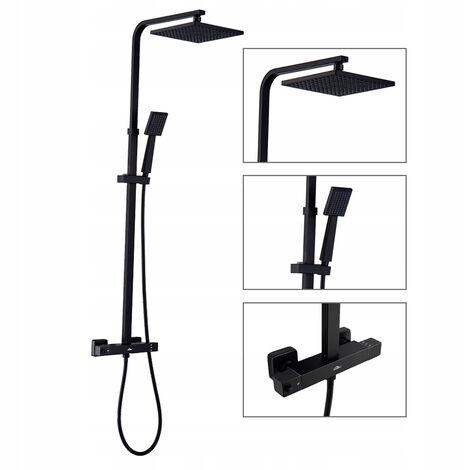 Auralum Schwarz Duschsystem mit Thermostat Regendusche Duscharmatur Duschset Dusche Duschsäule