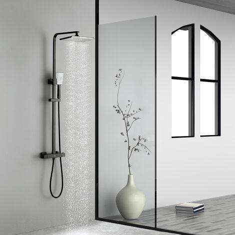 Auralum Schwarz Duschsystem mit Thermostat Regendusche Duschset Duschsäule Duscharmatur mit Selbstreinigende Handbrause
