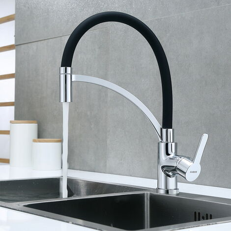 Auralum Schwarz Küchenarmatur mit 2 Strahlarten, Wasserhahn Küche mit 360° schwenkbarem Auslauf, Hochdruck Armaturen Flexible Einhebelmischer Einhandmischer Spültischarmatur Mischbatterie für Küche