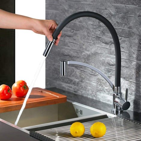 Auralum Schwarz Niederdruck Wasserhahn Küche Ausziehbar Niederdruckarmatur Spültischarmatur Armatur Küche Einhandmischer Mischbatterie für einen Untertischboiler