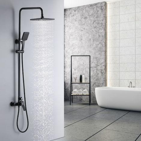 Auralum Schwarz Regendusche Duschset Duschsystem Ohne Thermostat Regenduschset Duschsäule set