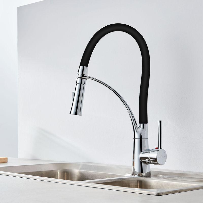 Auralum Schwarz Wasserhahn Küche Armatur | 360° Drehbar Küche ...
