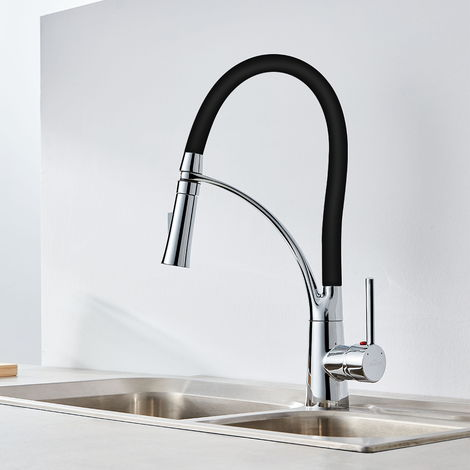 Auralum Schwarz Wasserhahn Küche Armatur | 360° Drehbar Küche Einhebelmischer Mischbatterie mit Hoher Auslauf