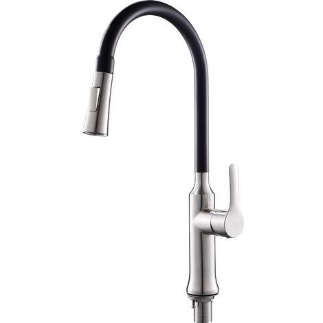 Auralum Schwarz Wasserhahn Küche Armatur 360° drehbar Küchenarmatur ...