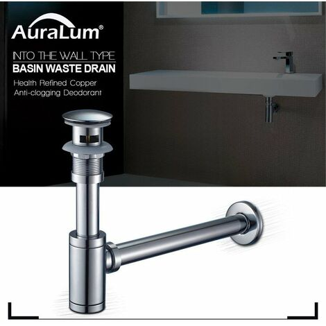 Auralum Siphon + POP UP Ablaufgarnitur Set mit Überlauf Stöpsel Abfluss Ventil Waschbecken Waschtisch Ablauf