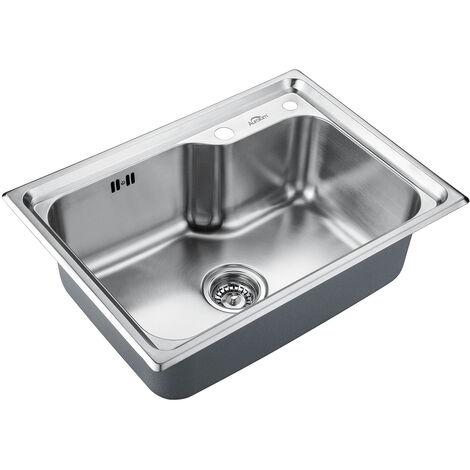 Auralum Spülbecken 62*45CM Spülen mit 1 Becken Küchenspüle aus gebürstet Unterplan Edelstahl mit Siphon und Trop Plein Granitspüle Einzelbecken