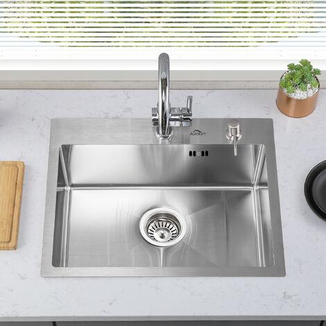 Auralum Spülbecken Chrom Spülen mit 1 55*45CM Becken Küchenspüle aus gebürstet Unterplan Edelstahl mit Siphon und Trop Plein Granitspüle Einzelbecken