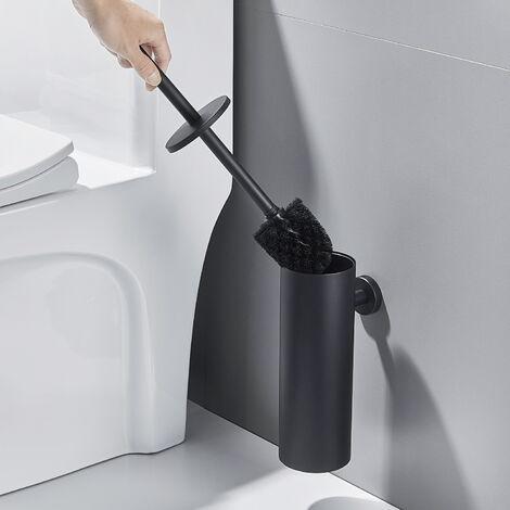 Auralum Toilette Porte-brosse Noire Mural Imperméable Facile à nettoyer POUR WC Salle de Bains Toilettes