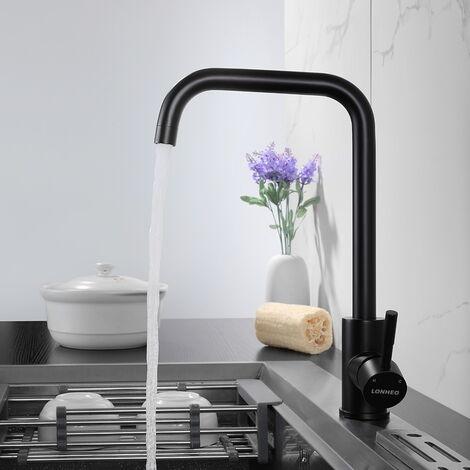 Auralum Schwarz Wassserhahn Küche Armatur | 360°Schwenkbar Küchenarmatur Spültischarmatur Einhebelmischer Mischbatterie
