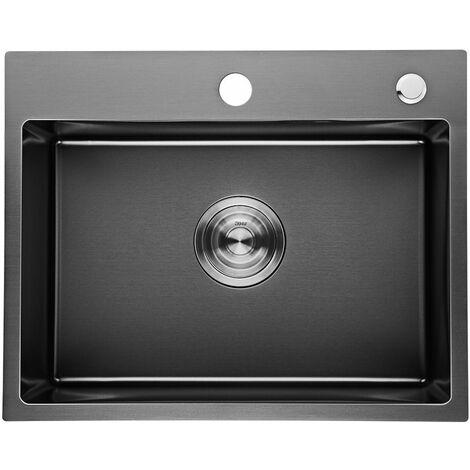 Auralum top vier de cuisine noir 1 bac 50 40 22cm en - Evier cuisine 1 bac ...