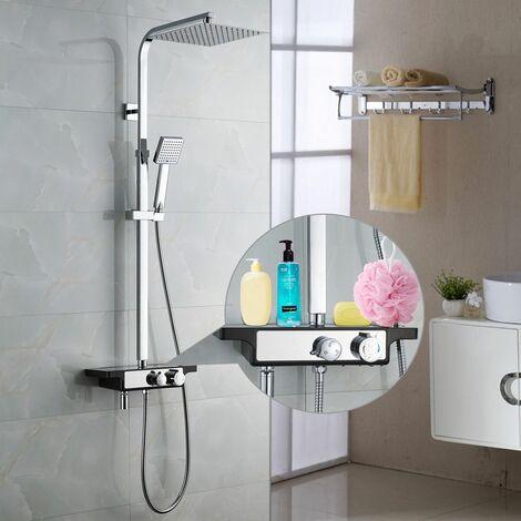 auralum unique colonne de douche avec plateau de rangement. Black Bedroom Furniture Sets. Home Design Ideas