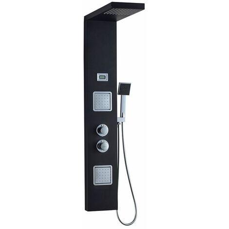 Auralum Unique Panneau de Douche Thermostatique Système de Douche Noir avec Affichage LCD