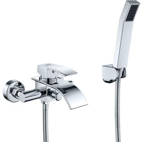 Auralum Wannenarmatur Badewanne Armatur Set Chrom Wannenbatterie Brausegarnitur mit Wasserfall Badarmatur und Handbrause