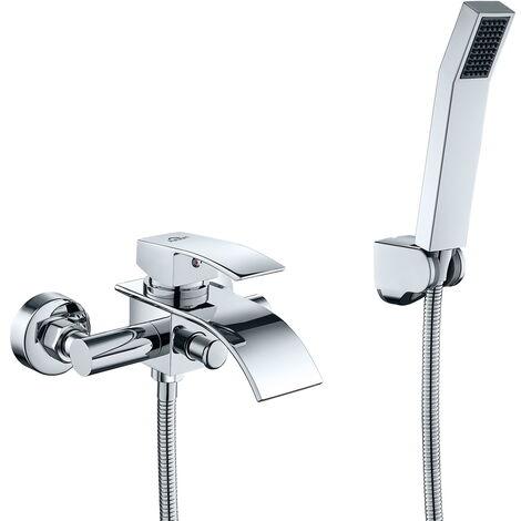 AuraLum Wannenarmatur   Standarmatur Badewannenarmatur   Inklusive Brausegarnitur   Wasserfall Badewanne Wasserhahn   Chrom