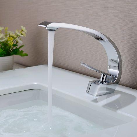 Auralum Waschtischarmatur in Chrom | Bad Armatur Einhebelmischer Mischbatterie Waschbeckenarmatur für Badezimmer