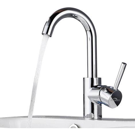 Auralum Waschtischarmatur in Chrom   Bad Armatur Einhebelmischer Mischbatterie Waschbeckenarmatur für Badezimmer,J Form