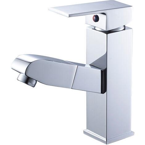 Auralum Waschtischarmatur Wasserhahn Ausziehbare Bad Waschtisch-Einhebelmischer Küchenarmatur mit Schlauchbrause aus Chrome