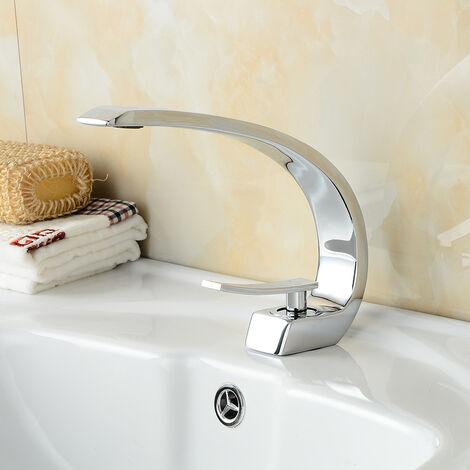 Auralum Waschtischarmatur Wasserhahn Chrom Bad Armatur Einhebelmischer Mischbatterie Waschbeckenarmatur für Badezimmer Waschbecken