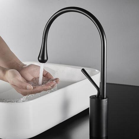Auralum Waschtischarmaturen Bad Waschbecken Wasserhahn Hohe Körper Schwarz Schwanenhals Einhand Einlochmontage Messing