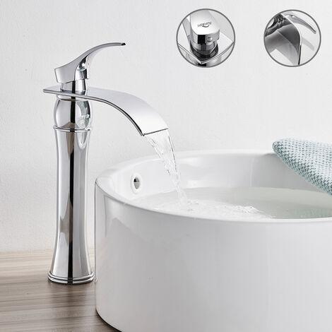Auralum Wasserfall Bad Waschtischarmatur Chrom Wasserhahn Badarmatur Mischbatterie Waschbecken Einhebelmischer für Badezimmer