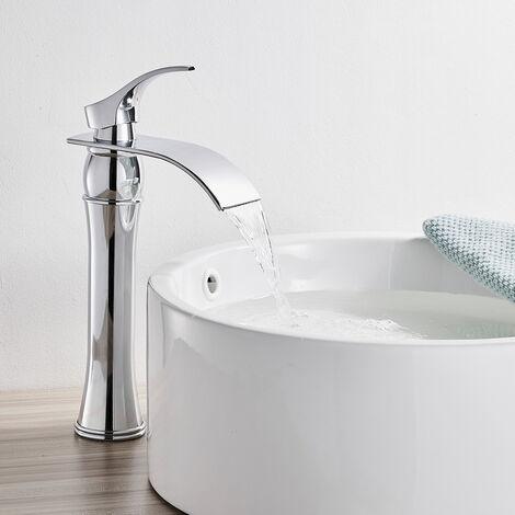 Auralum Wasserfall Waschtischarmatur Hoch Wasserhahn Bad aus Messing Chrom Armatur Waschbecken Einhebelmischer Mischbatterie für Badezimmer