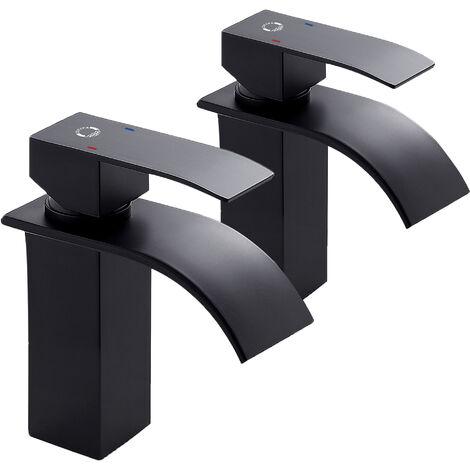 Auralum Wasserhahn Bad Chrom LED RGB Glas Waschtischarmatur Wasserfall Wasserhahn Kupfer Spültischarmatur für Bad