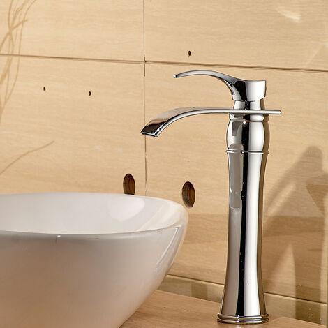 Auralum Wasserhahn Bad, Chrom, Waschtischarmaturen mit Hoher Wasserfall Auslauf für Badezimmer Waschbecken