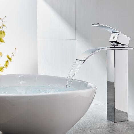 AuraLum Wasserhahn Bad Hoch Armatur Wasserfall Mischbatterie Waschbecken für Badezimmer Waschtisch