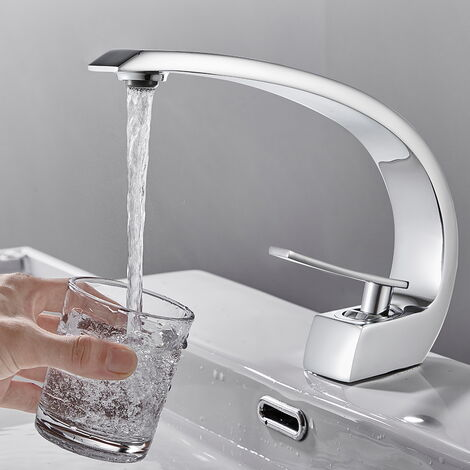 AuraLum Wasserhahn Bad Waschtischarmatur Badarmatur Schwarz Armatur Waschbecken Mischbatterie Einhebelmischer Bogenentwurf Modern elegant