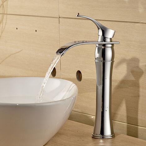 Auralum Wasserhahn Bad, Waschtischarmaturen mit Hoher Wasserfall Auslauf für Badezimmer Waschbecken, Chrom