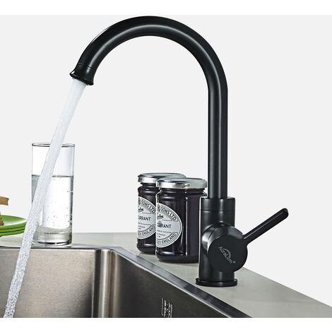 Auralum Wasserhahn Badarmatur Mischbatterie, Wasserhahn 360° drehbar Spültisch Armatur Küche Waschtischarmaturen, Schwarz