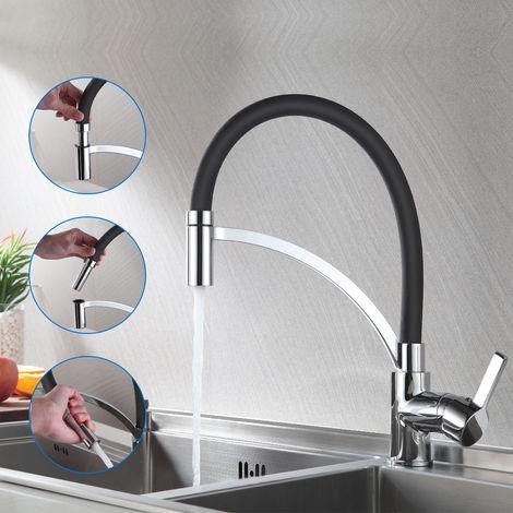 Auralum Wasserhahn für die Küche mit zwei Wasserstrahlen | 360° Drehbar Küche Armatur | neues Design Spültischarmatur in Schwarz