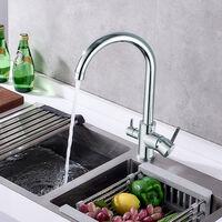 Auralum Wasserhahn Küche 360° drehbar 3 Wege Wasserfilter Trinkwasserhahn Küchearmatur für Filtersystem Hebel 3 in 1 Mischbatterie Spülbeckenarmatur Schwarz