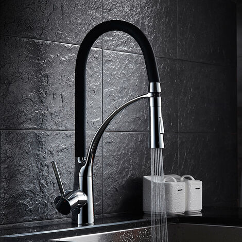 Auralum Wasserhahn Küche Armatur Schwarz Küchenarmatur Spültischarmatur Küche Mischbatterie